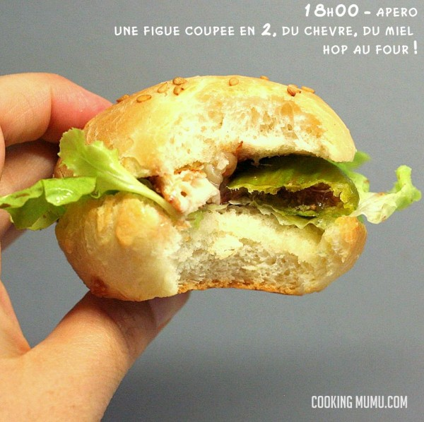 Hamburger chèvre figue et miel