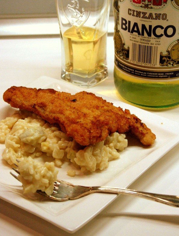 Escalopes milanaises et risotto