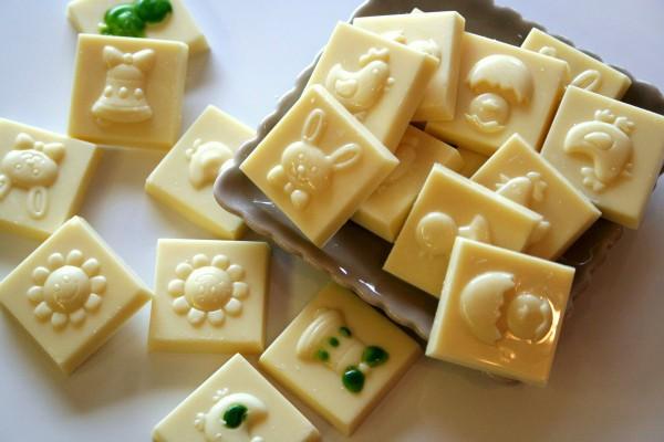 Carrés chocolat blanc