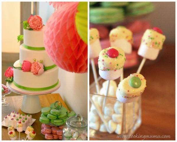 Gâteau et sucettes