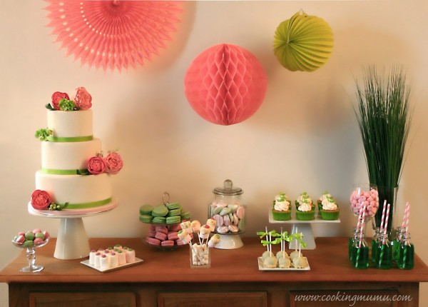 Sweet table vert et rose