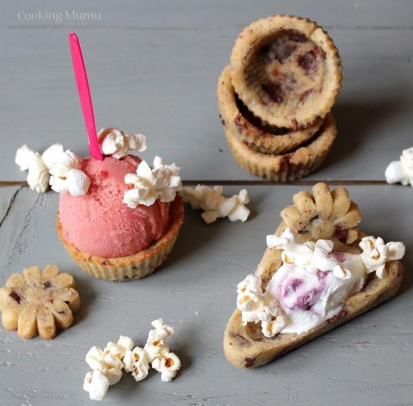 Cookie cups, tartes et fleurs